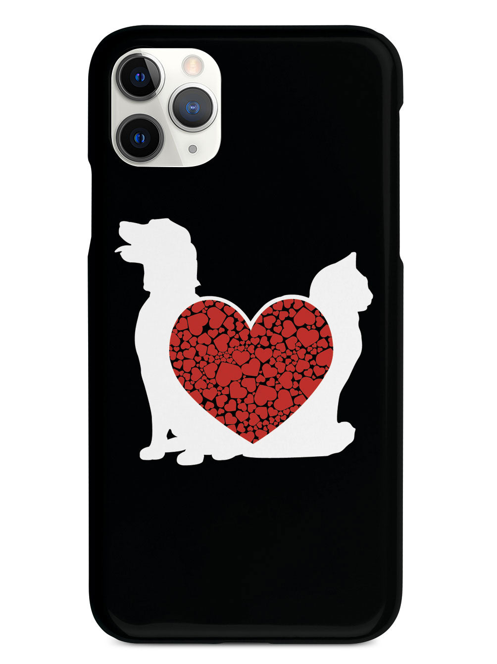Cat & Dog - Red Heart - Black Case