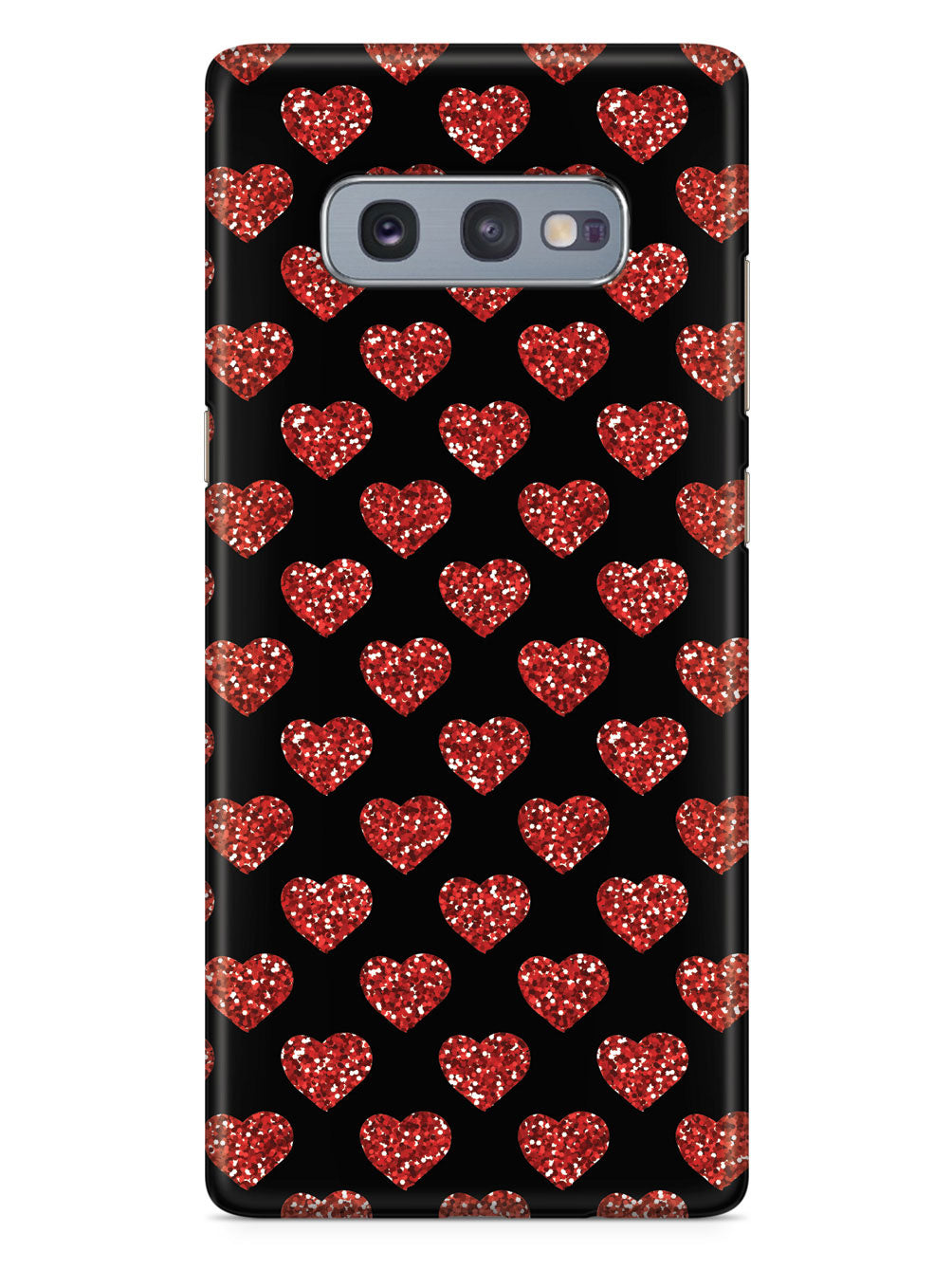 Red Glitter Heart Pattern - Black Case