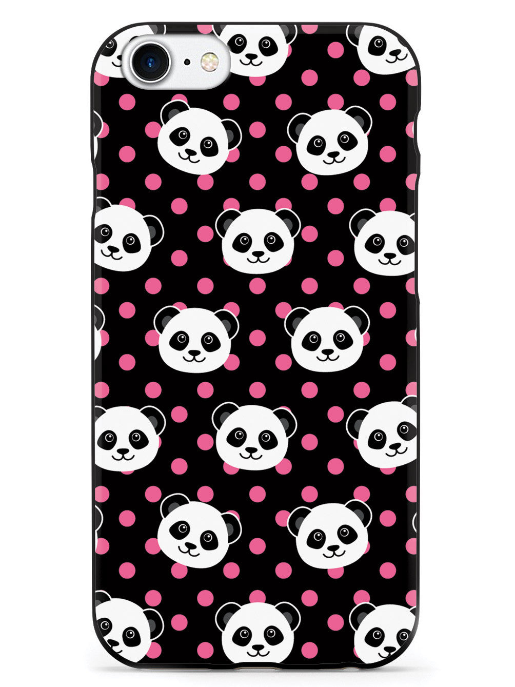 Cute Panda Pattern - Pink Polka Dots - Black Case