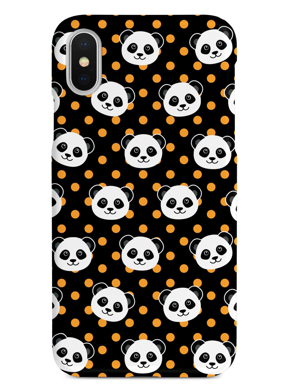 Cute Panda Pattern - Orange Polka Dots - Black Case