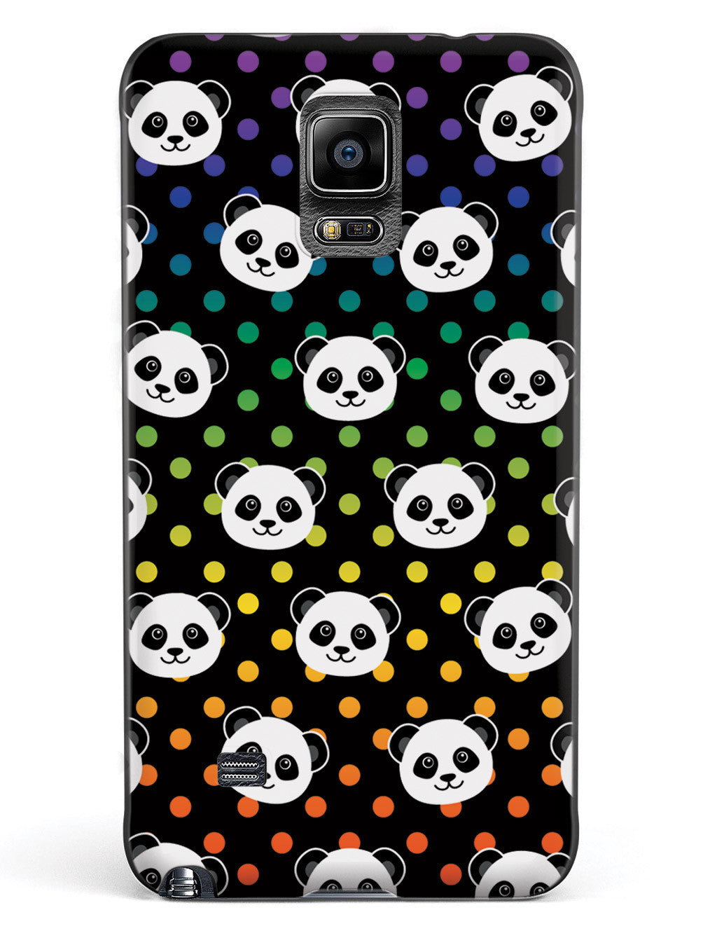 Cute Panda Pattern - Rainbow Polka Dots - Black Case