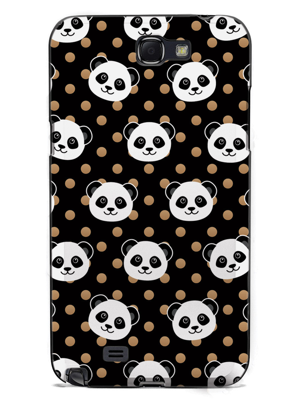 Cute Panda Pattern - Brown Polka Dots - Black Case