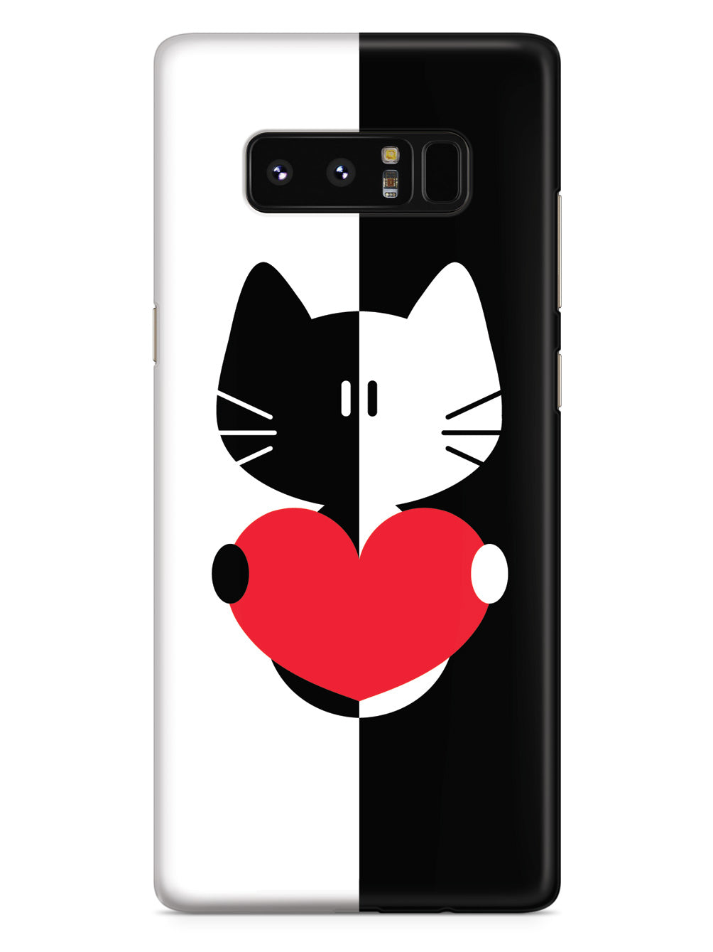 Black & White Cartoon Cat Heart - White Case