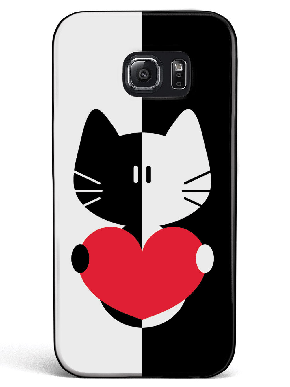Black & White Cartoon Cat Heart - Black Case
