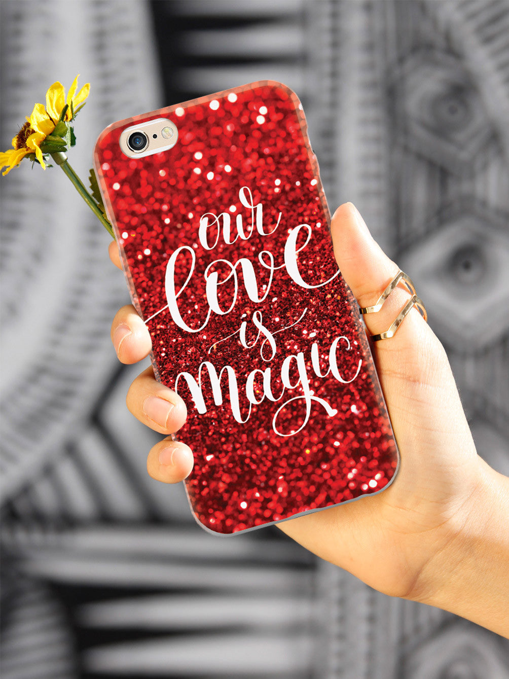 Our Love is Magic - Red Glitter Case