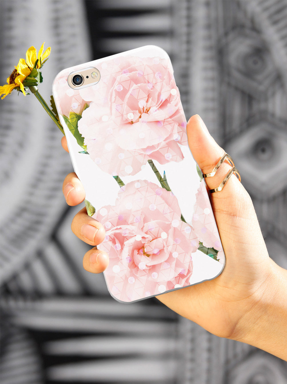 Pink Carnations - Geometric Overlay Case