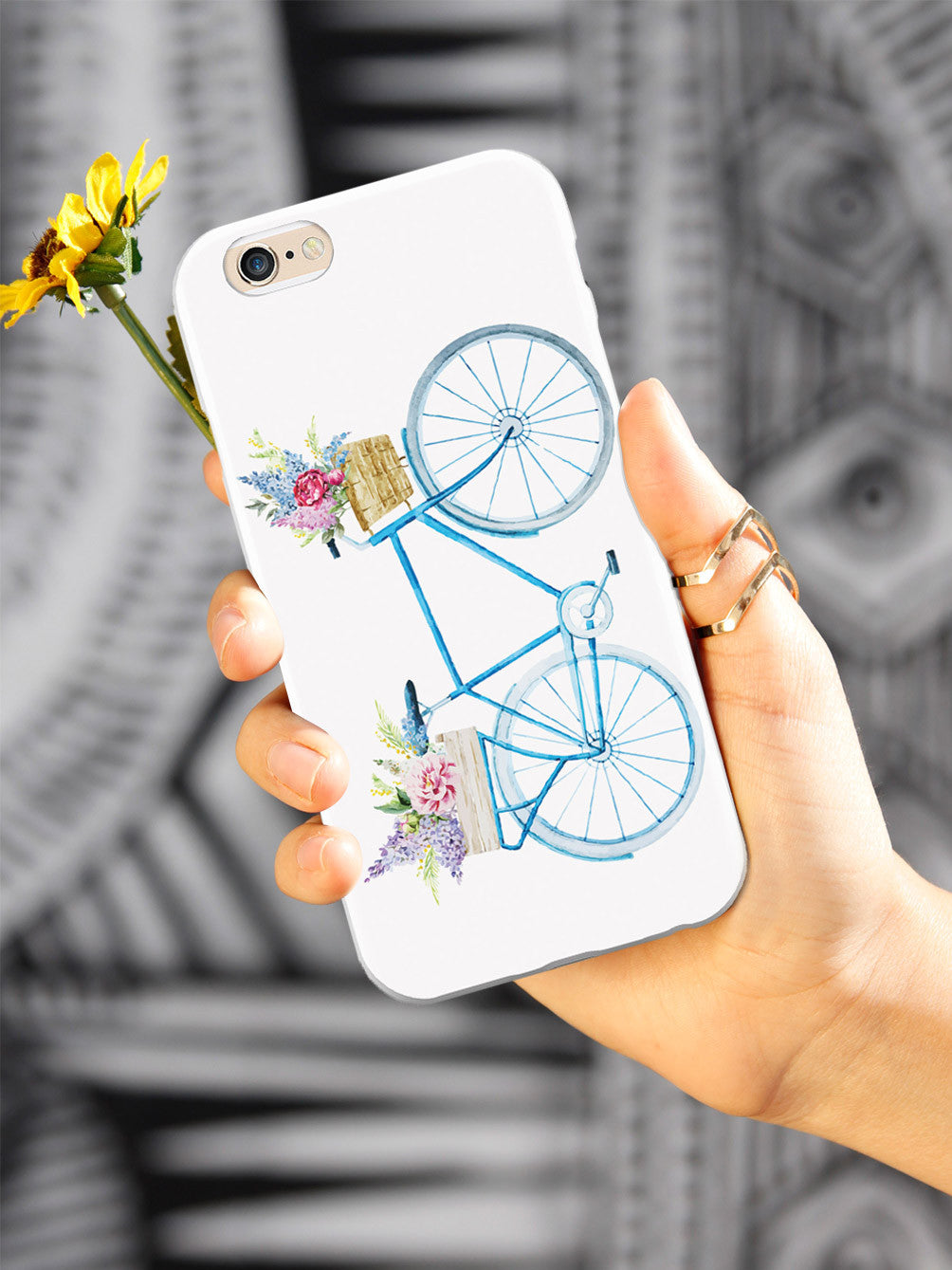 Basket of Flowers - Blue Bicycle - White Case