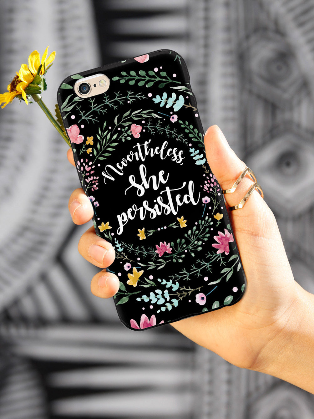 Nevertheless, She Persisted - Watercolor Flower Wreath - Black Case