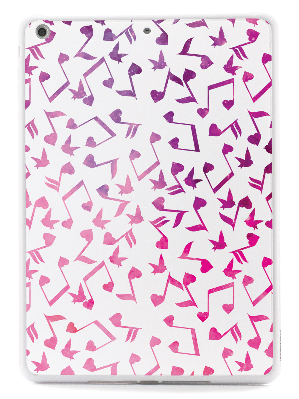 Heart Music Notes Pattern - Pink Watercolor - White Case