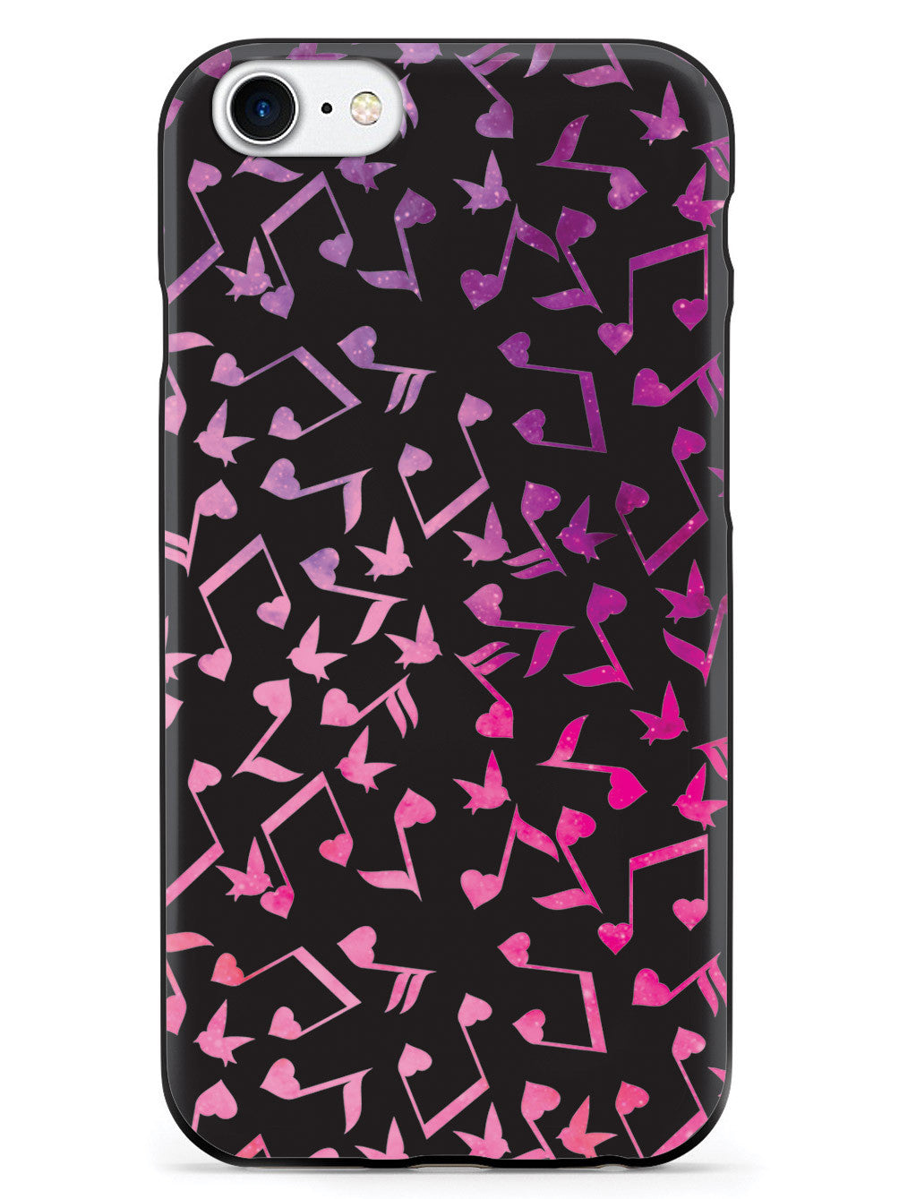 Heart Music Notes Pattern - Pink Watercolor - Black Case