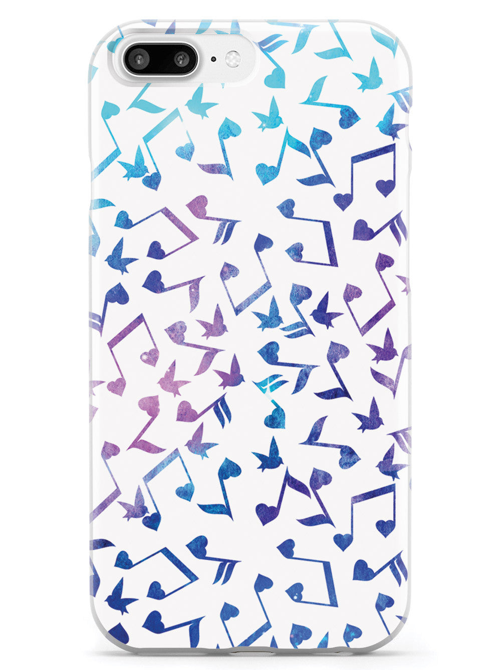 Heart Music Notes Pattern - Blue Watercolor - White Case