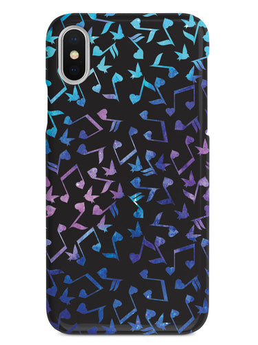 Heart Music Notes Pattern - Blue Watercolor - Black Case