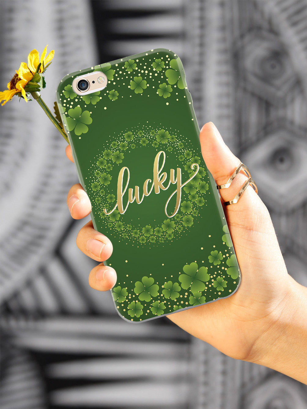 Lucky - Green and Gold Shamrocks - White Case
