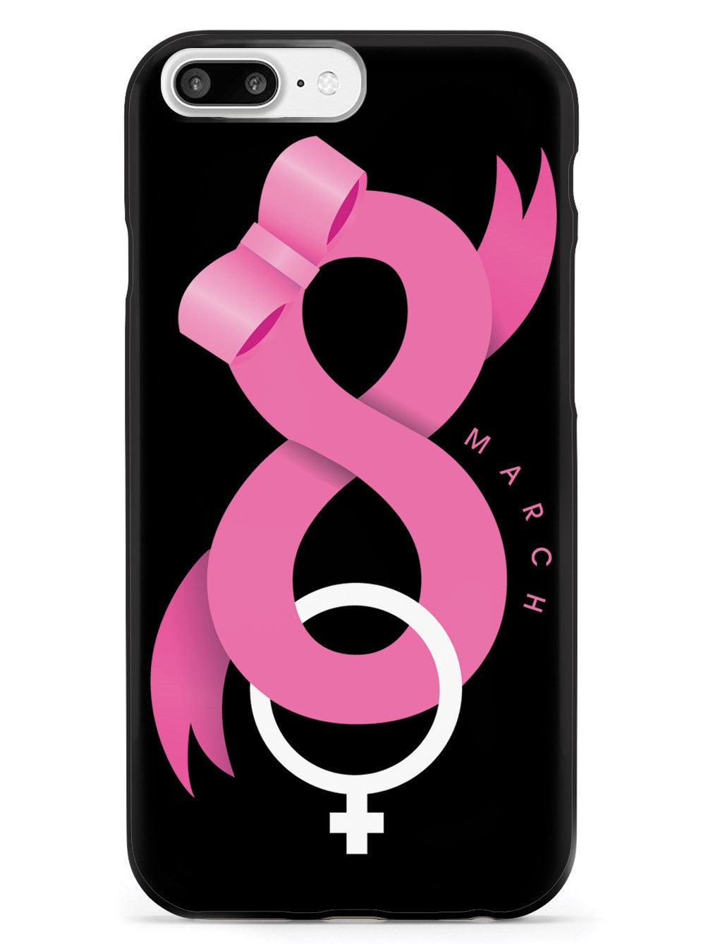 Women's Day - March 8 - Pink Ribbon - Black Case