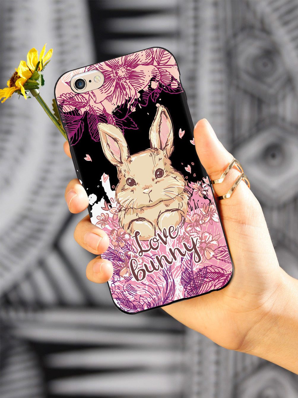 Adorable Floral Love Bunny - Black Case