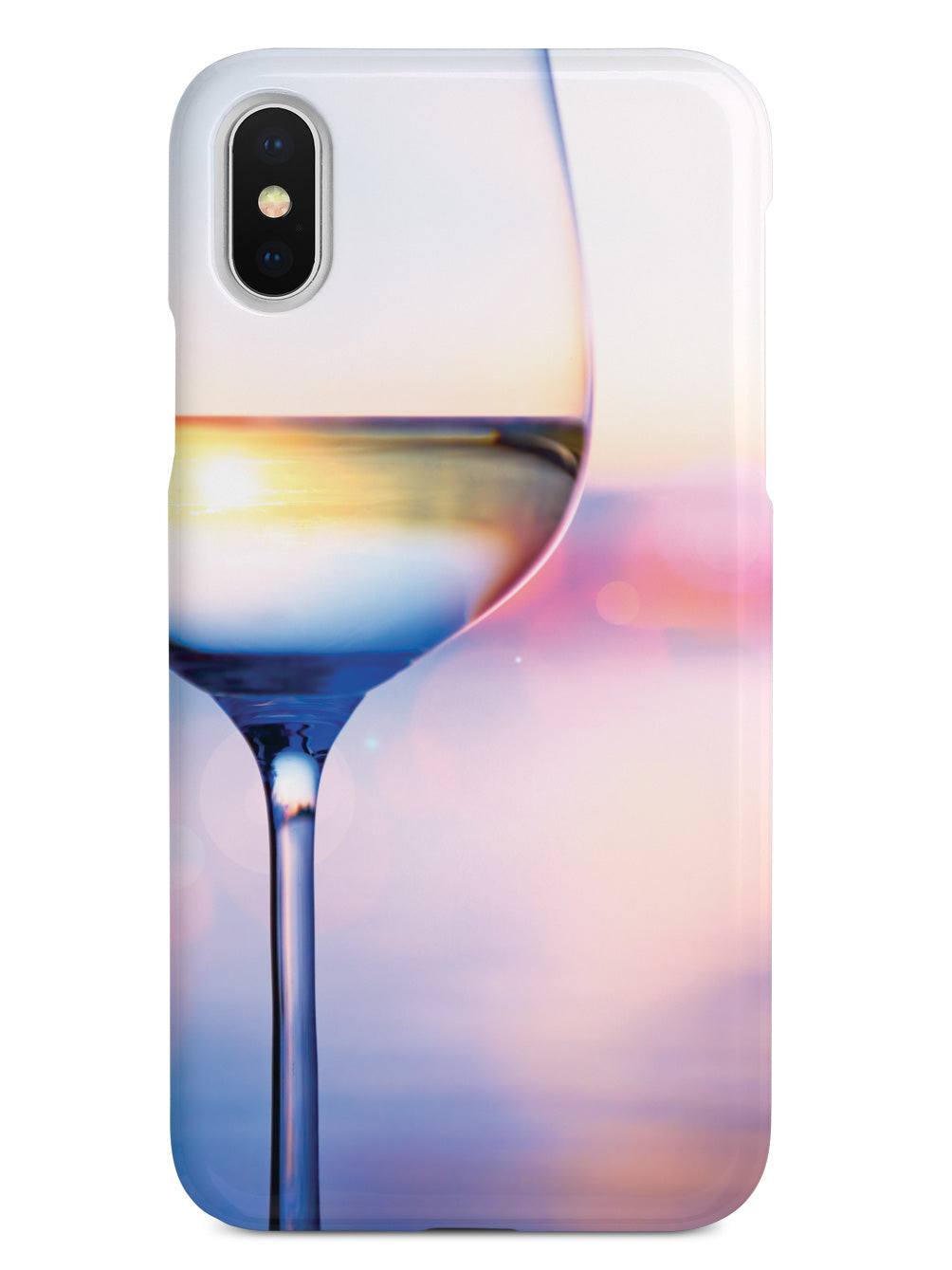 White Wine In Glass - Summer Sunset Background - White Case