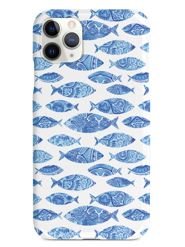 Ocean Blue Fish Fabric Pattern - White Case