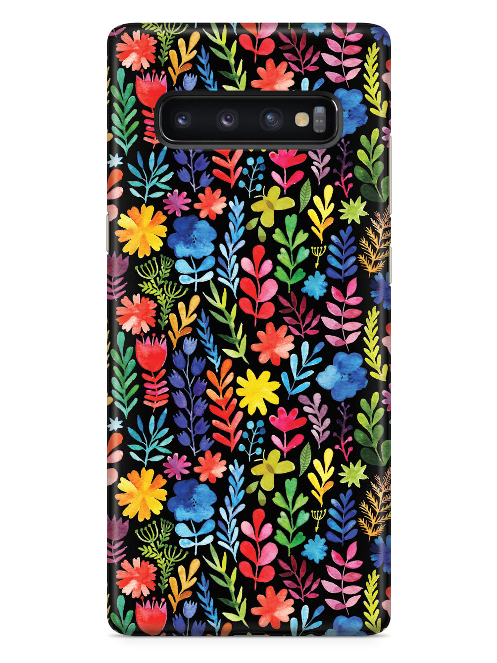 Bright And Colorful Watercolor Flowers - Black Case