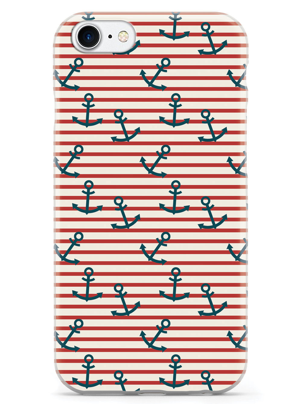 Anchor Horizontal Stripes Pattern - White Case
