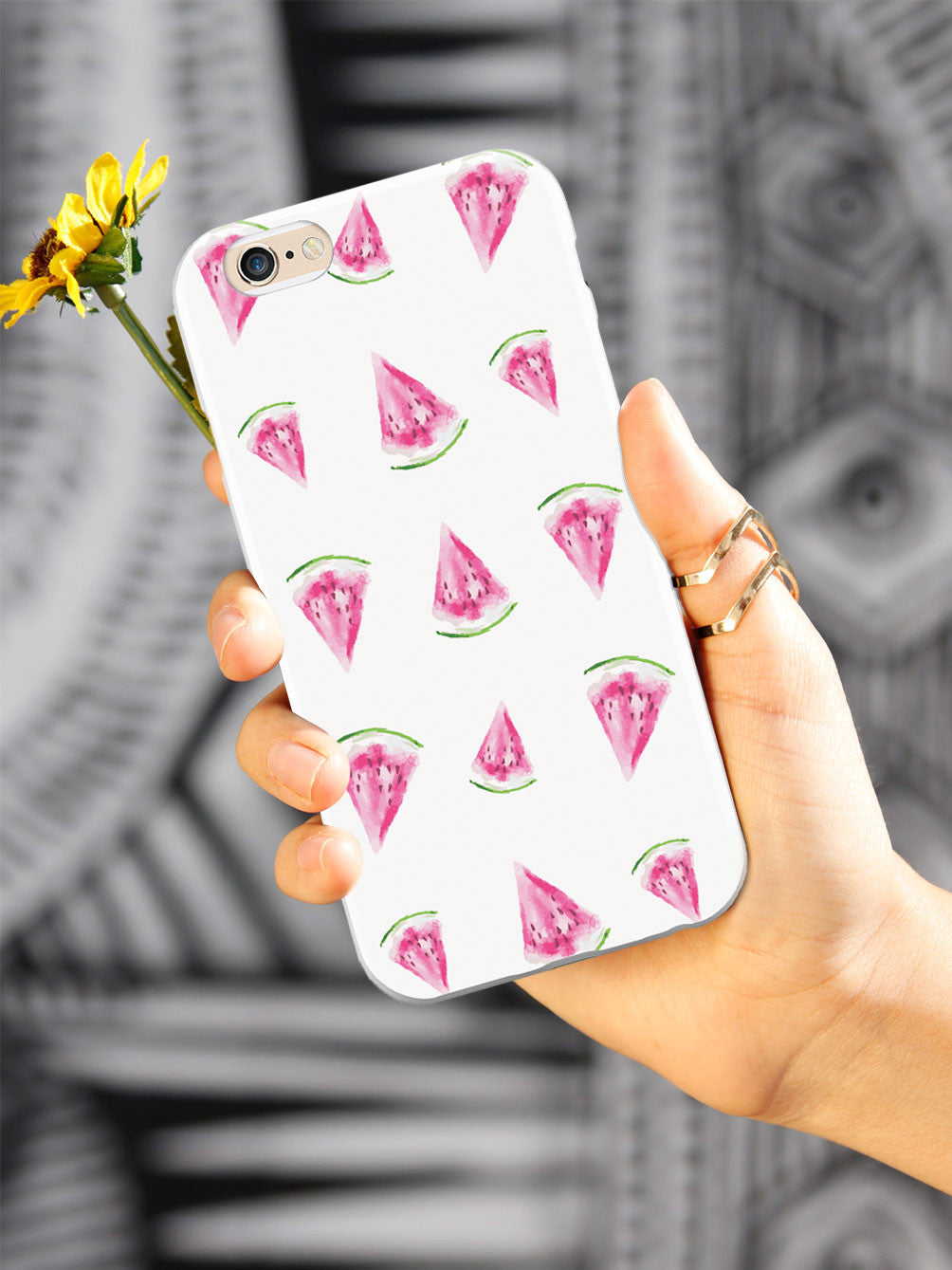Watercolor Watermelon Pattern - White Case
