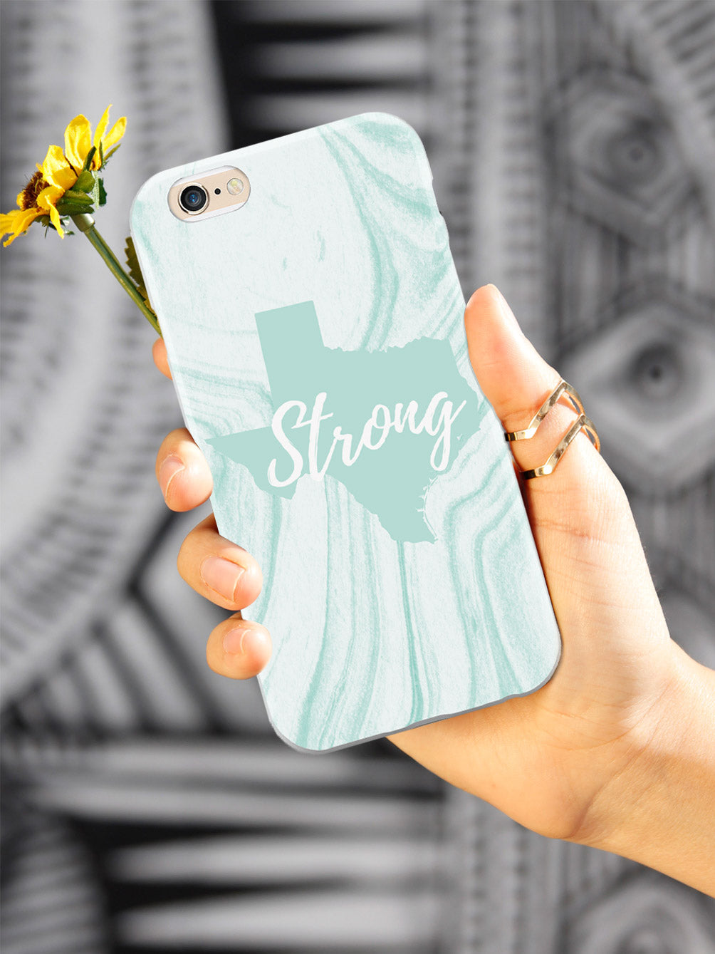 Texas Strong Teal Marble Pattern Support Phone Case