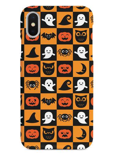 Halloween Icons Checkered Pattern - White Case