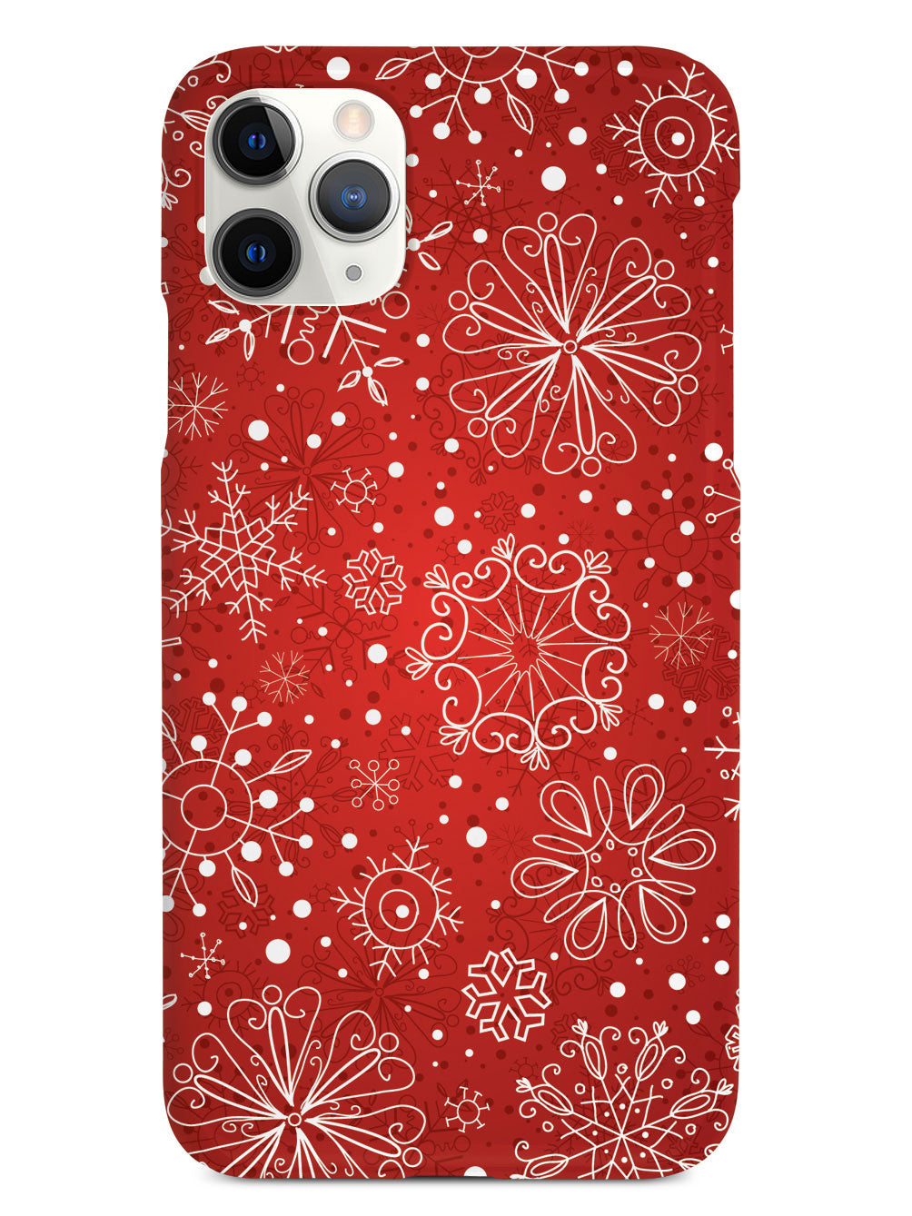 Red Snowflakes Doodle - Black Case