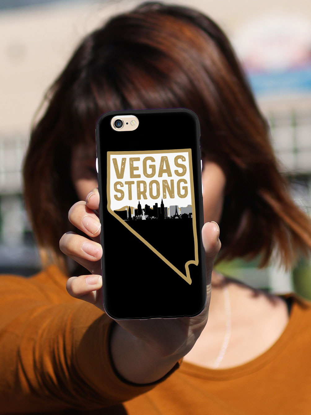 Vegas Strong - Nevada and City Silhouette - Black Case