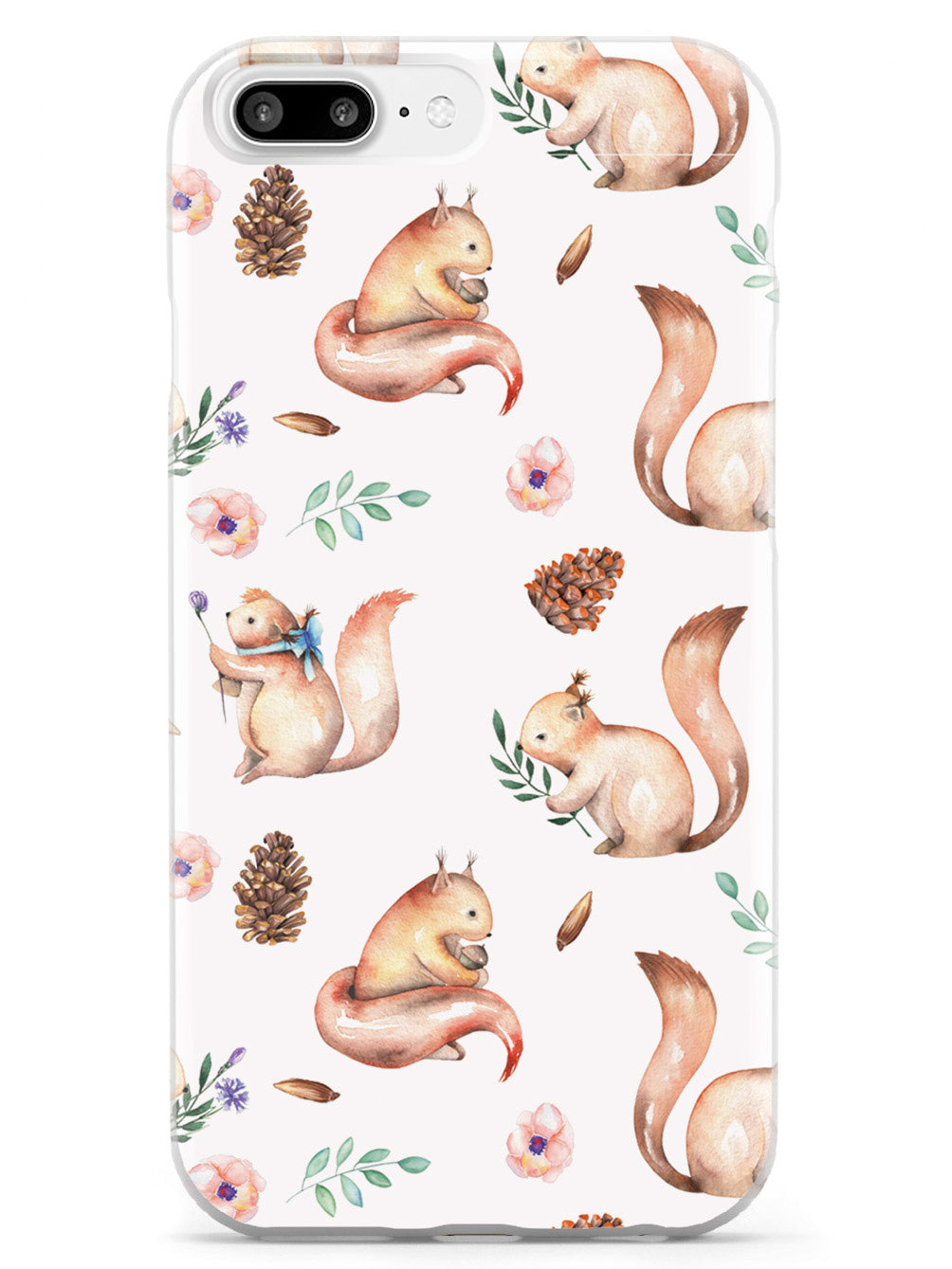 Squirrel Watercolor Pattern - White Case