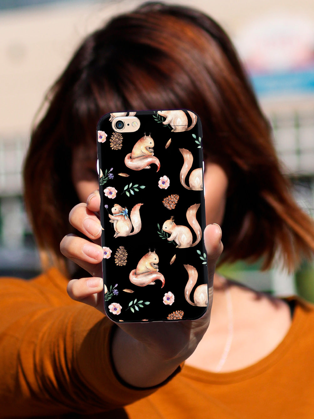 Squirrel Watercolor Pattern - Black Case