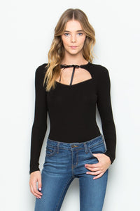 Black Ribbed Bodysuit with Grosgrain Ribbon Tie