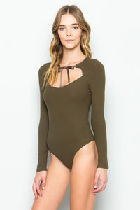 Olive Green Ribbed Bodysuit w/ Grosgrain Ribbon Tie