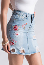 *JUST RESTOCKED* Cherry Blossom Distressed Floral Denim Skirt