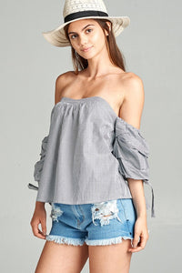Bustier Striped Ruffle Blouse