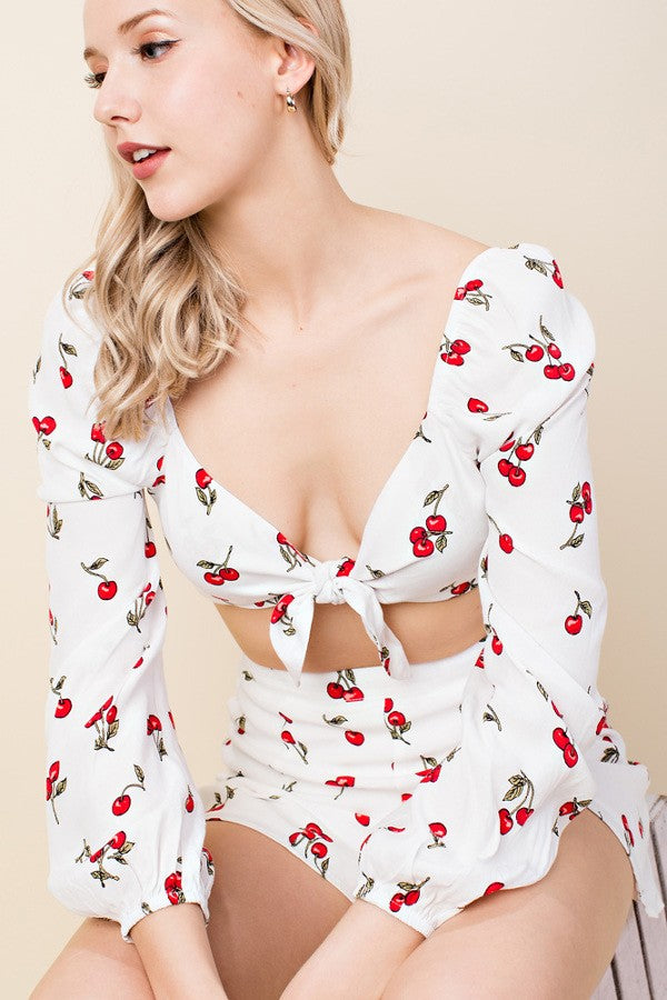 Long Sleeve Cherry Printed Cropped Blouse