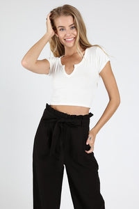 White V-Neck Crop Top