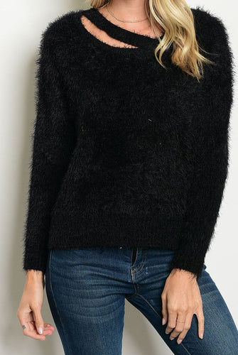 *JUST RESTOCKED* Fluffy Black Cozy Sweater w Neck Cut-Out