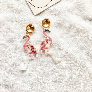 Beaded Pink Flamingo Earrings