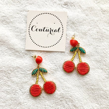 Woven Cherry Dangle Earrings