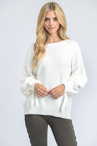 Relaxed Ivory Sweater with Arm Embellishments