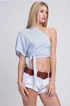 Striped One-Shoulder Crop Top with Waist Tie