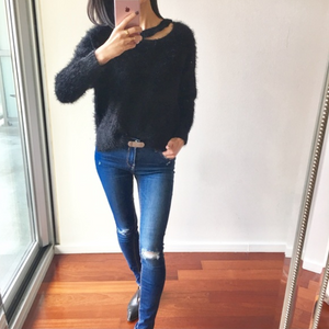 *STOCK RUNNING LOW* Fluffy Black Cozy Sweater w Neck Cut-Out