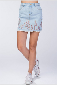 Flame Denim Skirt