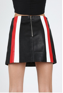 Color Block Black Mini Leather Skirt