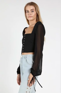 Hook and Eye Long Sleeve Black Crop Top