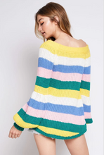 Multi-Colored Off-the-Shoulder Knit Sweater