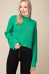 Crop Knit Sweater in Green