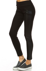 Vegan Leather Panel Black Leggings
