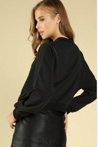 Black Sweater with Zipper Detailing