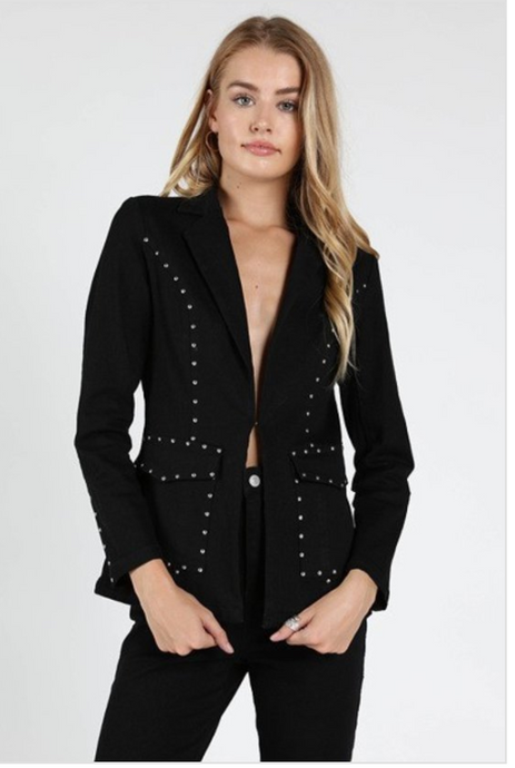 Black Blazer with Metallic Studs